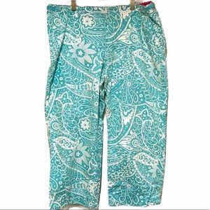 Izod Petite Turquoise & White Print Pants size14P
